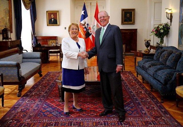 El presidente Kuczynski tuvo un encuentro con la presidenta de Chile, Michelle Bachelet.