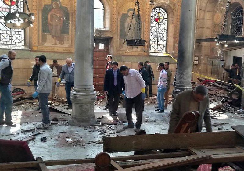 El momento de la explosión de la catedral de El Cairo