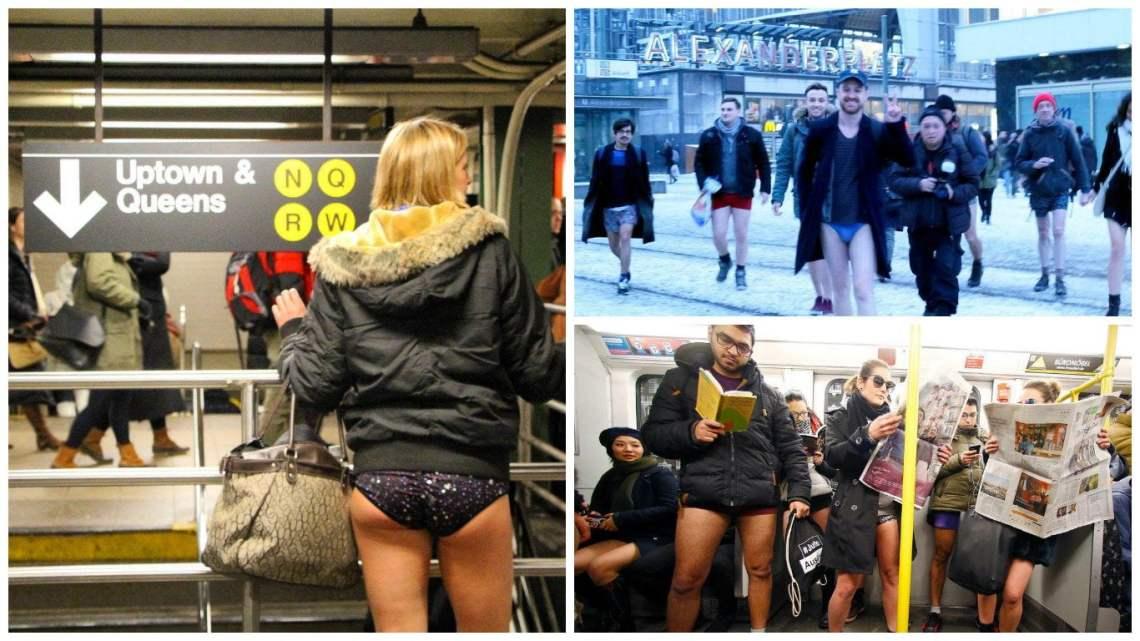 """Cientos de personas viajaron en metro en ropa interior por el """"Día Mundial Sin Pantalones"""""""