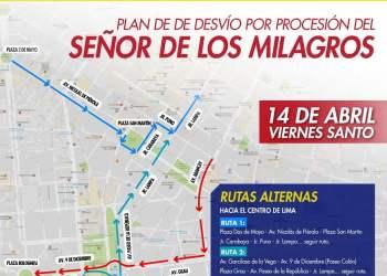 MML INFORMA PLAN DE DESVÍO POR PROCESIÓN DEL SEÑOR DE LOS MILAGROS EN VIERNES SANTO