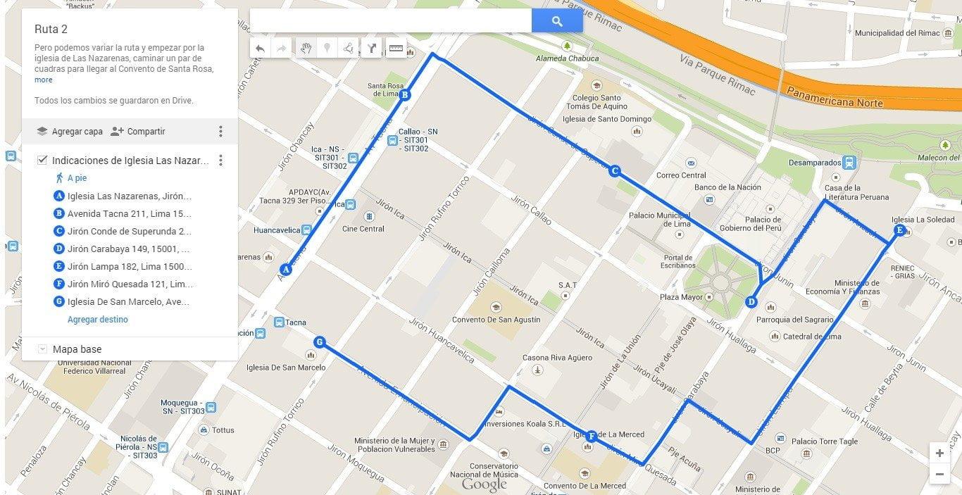 Otra ruta empieza por la iglesia Las Nazarenas (clic aquí para ver y descargar el mapa)