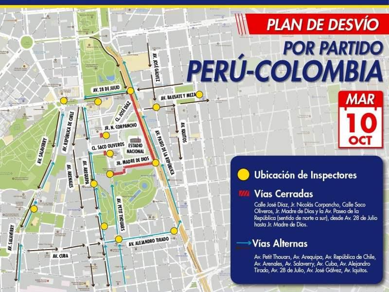 MUNICIPALIDAD DE LIMA INFORMA RUTAS ALTERNAS POR RESTRICCIÓN VEHICULAR CERCA DEL ESTADIO NACIONAL