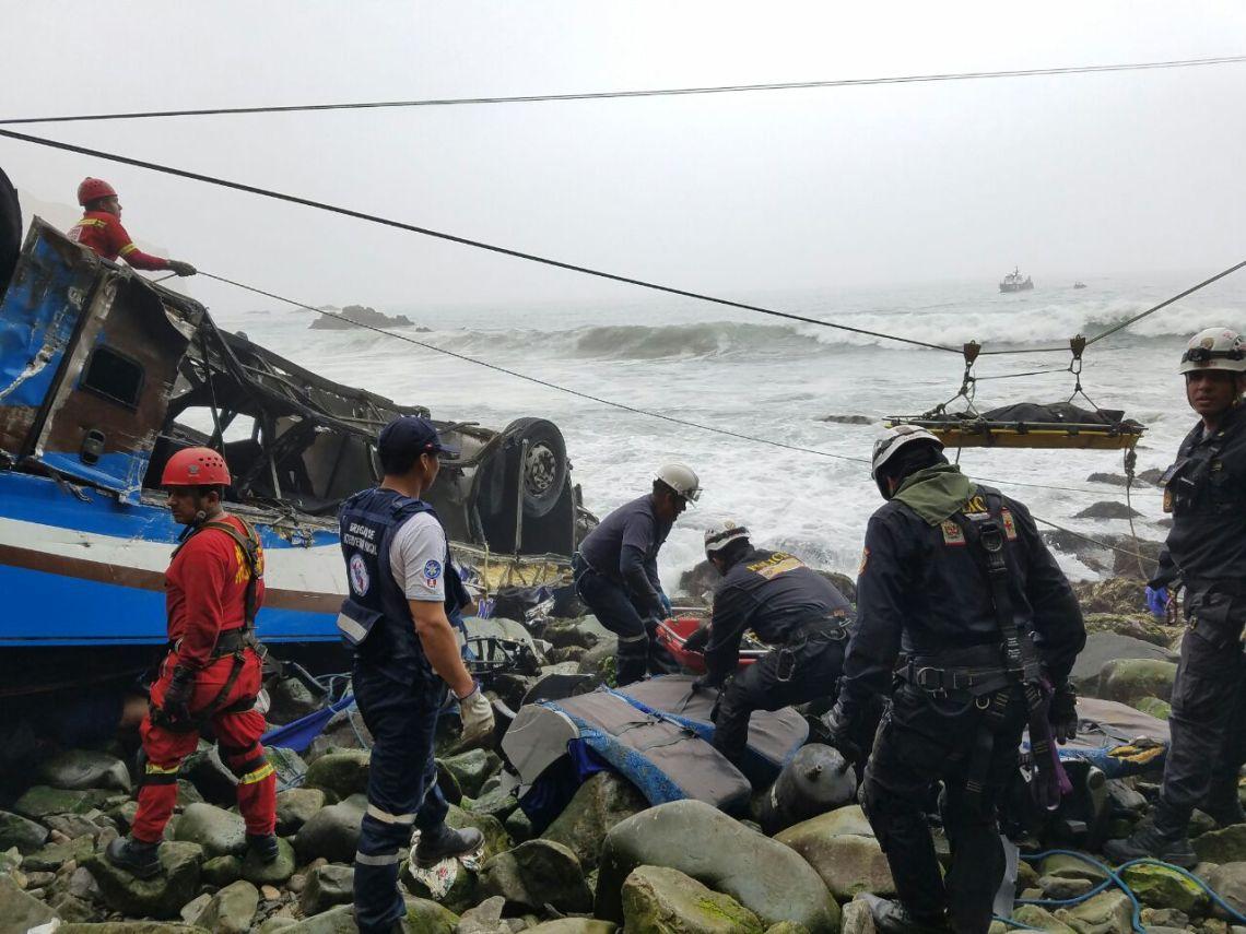 Pasamayo: Policía reanuda búsqueda de cadáveres de bus siniestrado ...