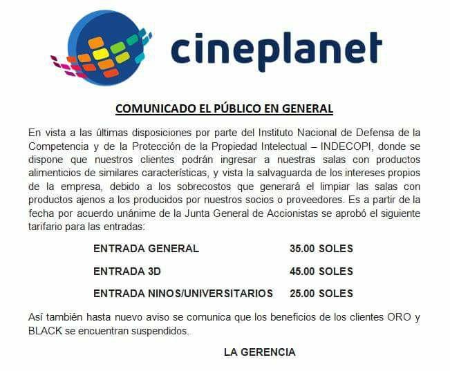Comunicado falso a nombre de Cineplanet