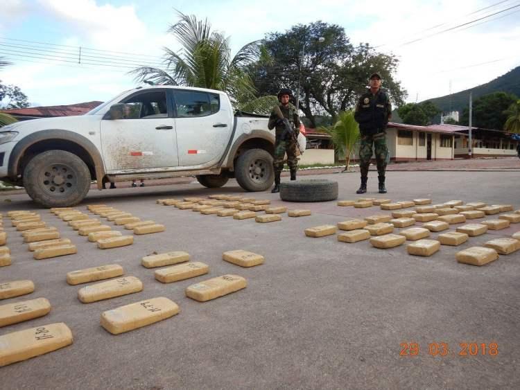 Policía Nacional decomisa más de 115 kilos de droga en el Vraem