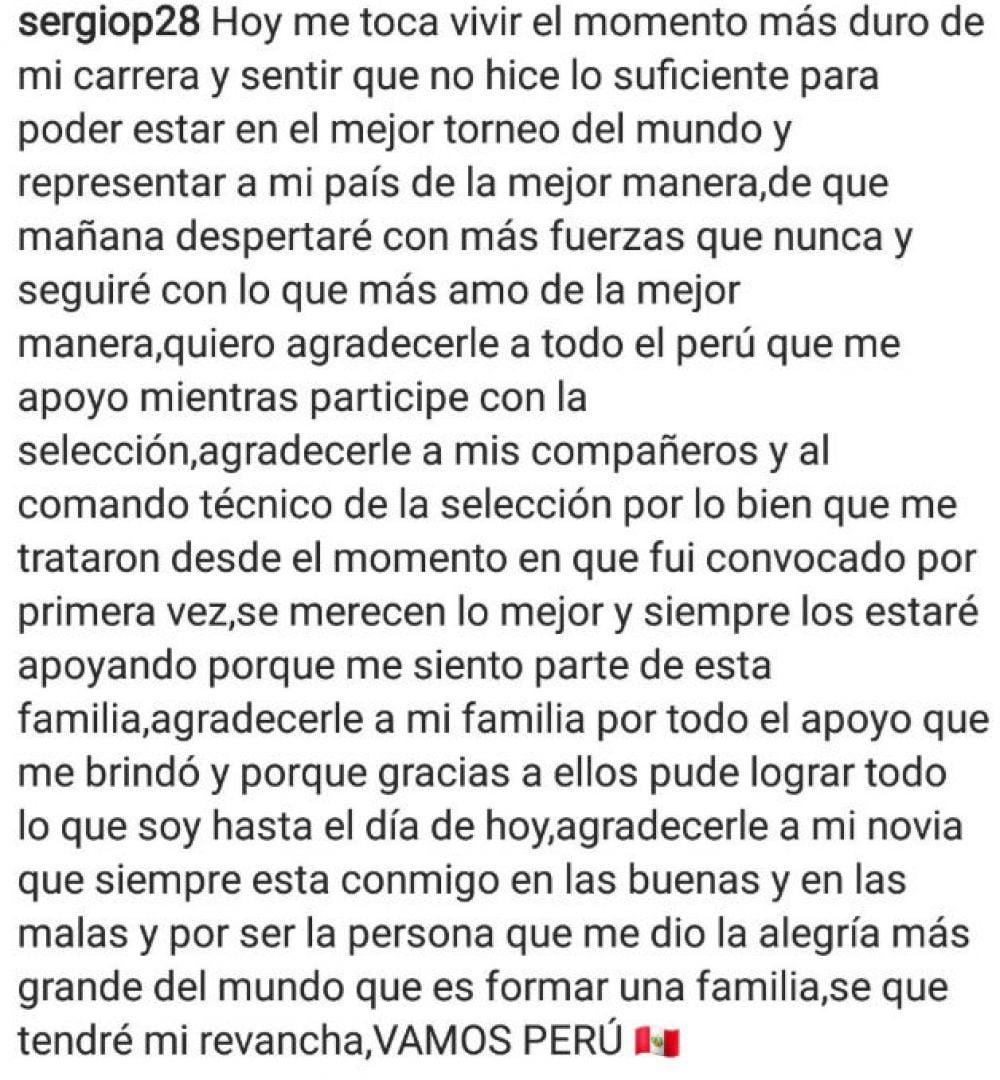 Mensaje de Sergio Peña
