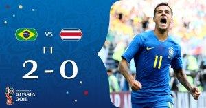 Brasil derrotó a Costa Rica por 2-0 con golazo de Neymar