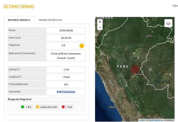 Sismo se registró en las regiones de Loreto y Ucayali