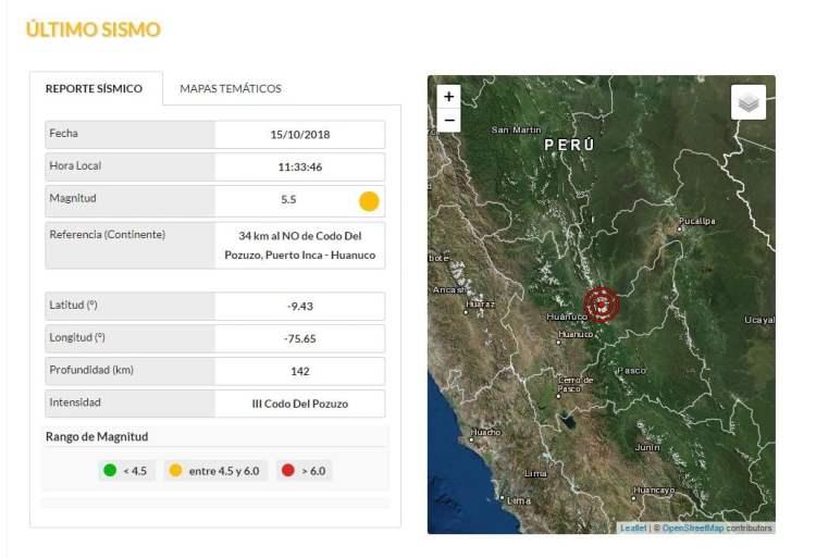 Fuerte Sismo en Huánuco de 5.5 grados alarmó a la población
