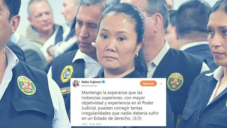 Keiko Fujimori dice mantener la esperanza que jueces superiores la liberen