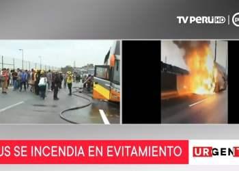 Incendio de bus en vía de Evitamiento