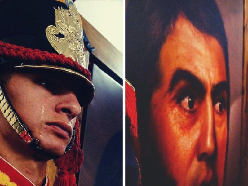 Lágrimas de un soldado frente a retrato del General San Martín