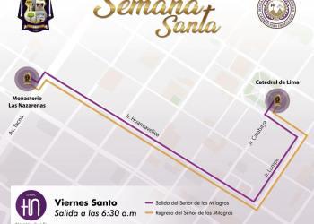 Recorrido del Señor de los Milagros por Semana Santa en Lima