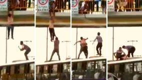 Chofer de bus y pasajeros evitan que hombre se lance de puente