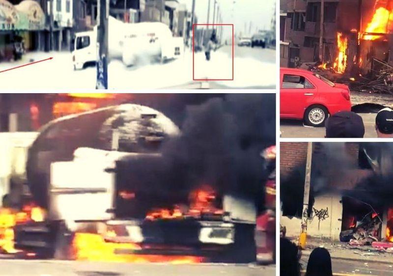Camión cisterna choca, explota, mata a dos personas y deja decenas de heridos