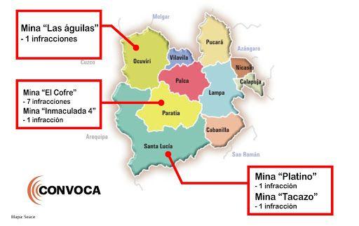 Infracciones en las mineras en Puno por las que  CIEMSA fue sancionada por la OEFA