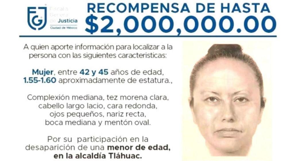 Feminicidio de Fátima: Difunden retrato hablado de mujer que se llevó a niña