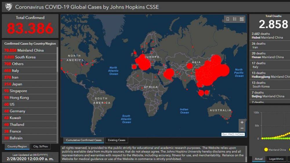 El avance del coronavirus por el mundo en dos mapas interactivos gratis