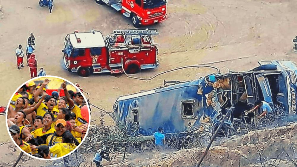 Mueren ocho hinchas del Barcelona de Ecuador tras despiste de bus en Piura
