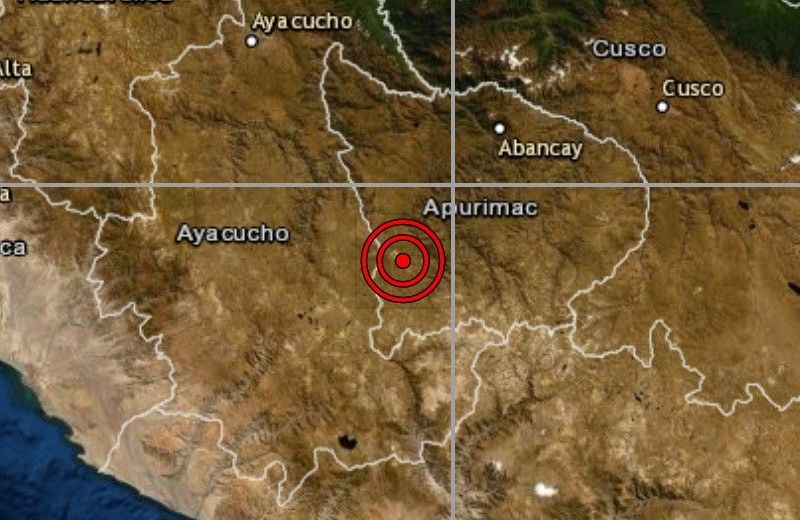 Sismo de magnitud 5.2 se registró hoy en Chalhuanca, Apurímac