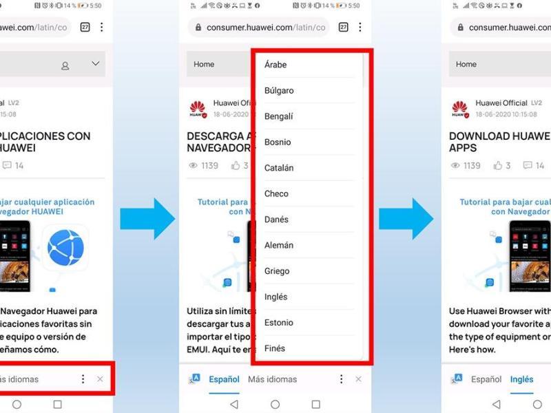 Navegador Huawei permite traducir páginas webs hasta en 47 idiomas