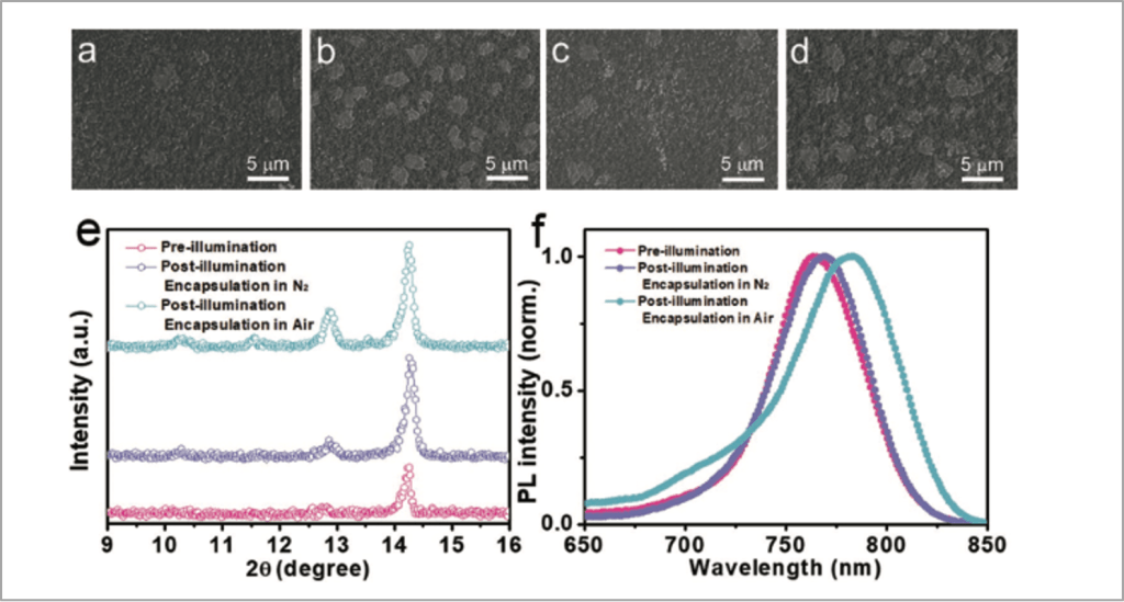 Top view SEM image and PL spectra of perovskite film