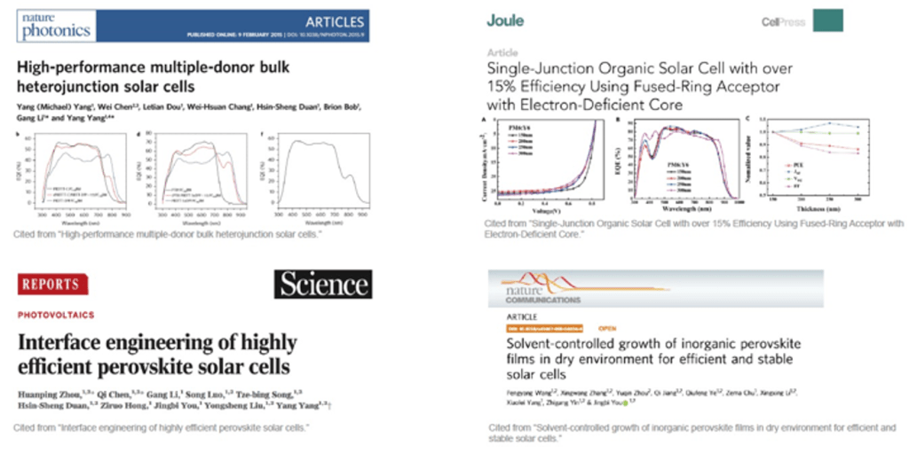 Typical journals cite quantum efficiency results of QE-R,  such as Nature, Science, and Joule