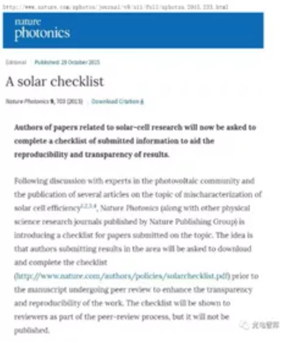 Solar Checklist