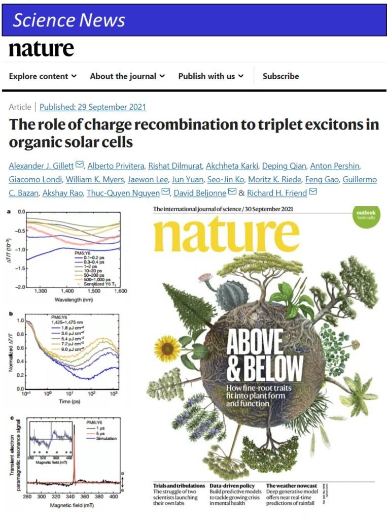 2021 Nature, R.H. Friend, Over 20% OPV Design 有機太陽能電池設計