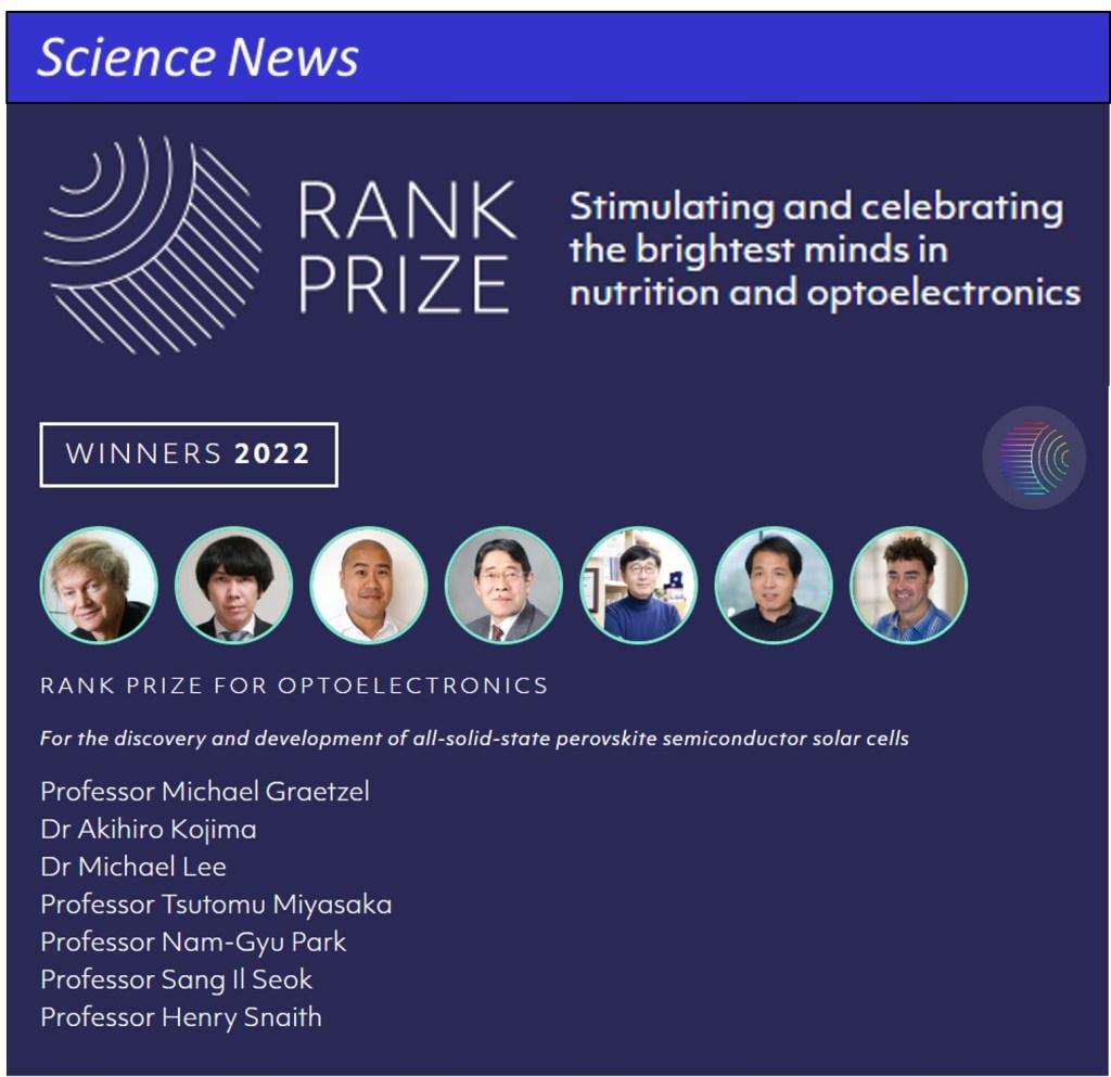 Rank Prize Perovskite Semiconductor Optoelectronic