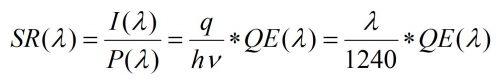spectral response 光譜響應 量子效率 公式