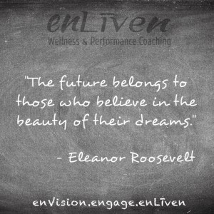 """Quote on enLiven Wellness Life Coaching chalkboard reading, """"The future belongs to those who believe in the beauty of their dreams."""" Eleanor Roosevelt"""