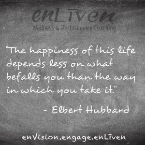 "Quote on enLiven Wellness Life Coaching chalkboard reading, ""The Happiness of this Life depends less on what befalls you than the way in which you take it."" - Elbert Hubbard. enliven wellness life coaching Toledo. Life Coach Todd Smith Blissfield"