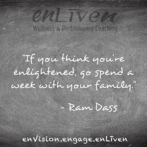 """Quote on enLiven Wellness Life Coaching chalkboard reading, """"If you think are enlightened, go spend a week with your family."""" - Ram Dass. Life Coach Toledo Todd Smith Blissfield"""