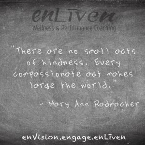 """Mary Anne Radmacher quote on enLiven Wellness Life Coaching chalkboard reading, """"There are no small acts of kindness. Every compassionate act makes large the world."""" Life Coach Toledo Todd Smith Blissfield"""
