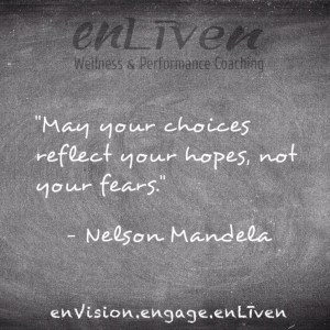 """Nelson Mandela quote on enLiven Wellness Life Coaching chalkboard reading, """"May your choices reflect your hopes, not your fears."""" enliven wellness life coaching Toledo. Life Coach Todd Smith Blissfield"""