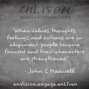 "John C Maxwell quote on enLiven Wellness Life Coaching chalkboard reading, ""When values, thoughts, feelings, and actions are in alignment, people become focused and their characters are strengthened."" Todd Smith Blissfield Life coach Toledo"