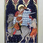 Enluminure illustrant la charité de Saint Martin.