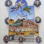 Saint Michel et ses saints combattant le dragon