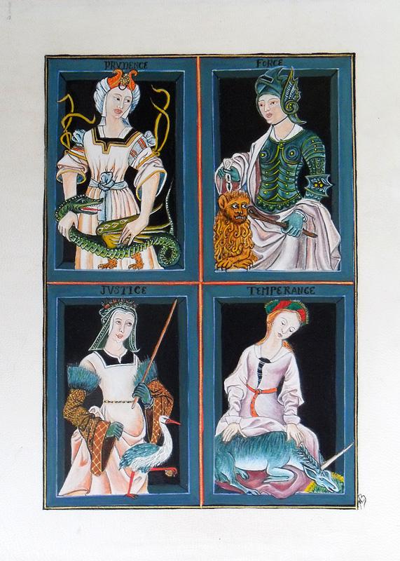 Les vertus cardinales - Reproduction d'une enluminure du XVIe siècle.