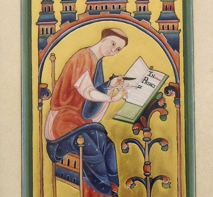 Scribe au travail – Bestiaire d'Aberdeen (enluminure)