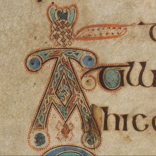 Initiale A du livre de Kells présente au folio 116v.
