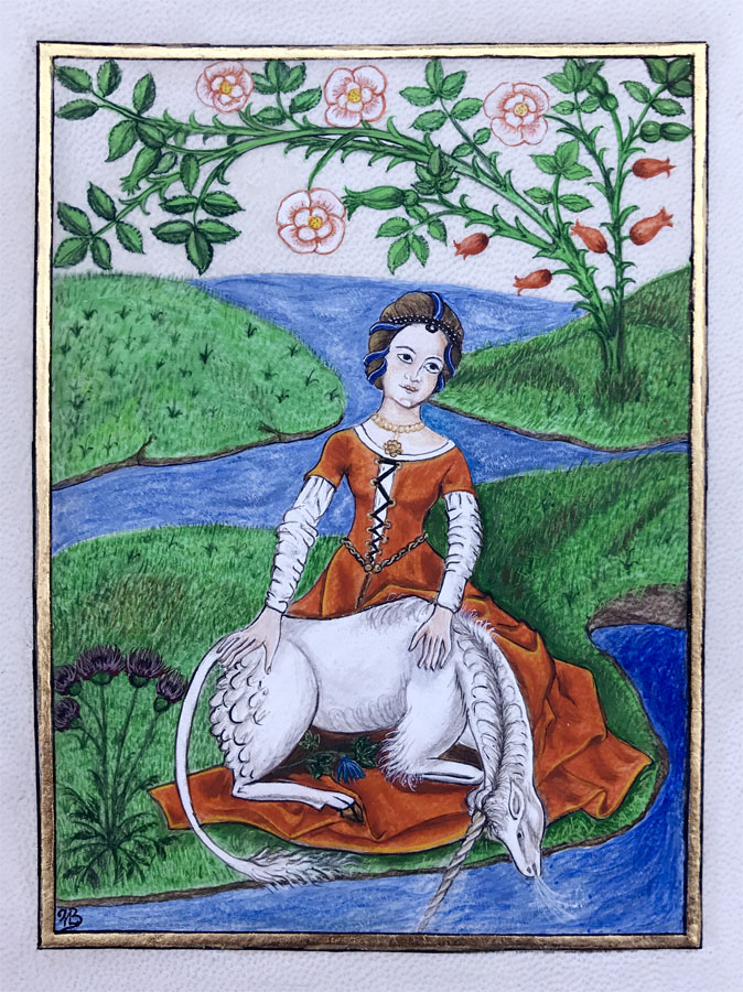 Licorne dans le giron d'une vierge