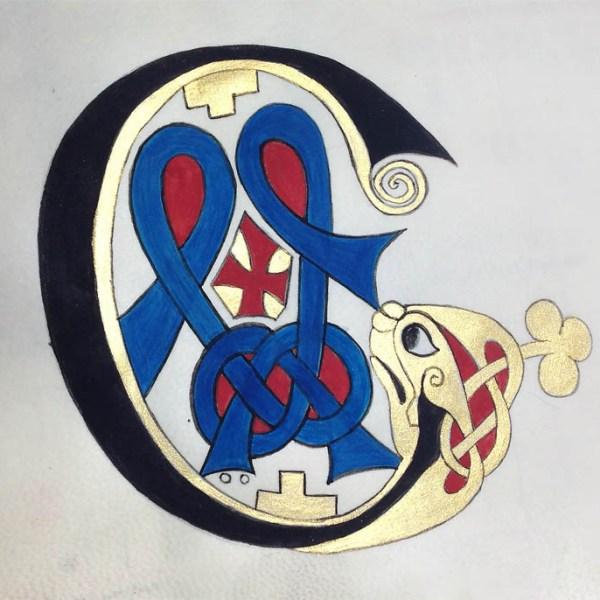Reproduction d'une initiale C présente au folio 278r du livre de Kells