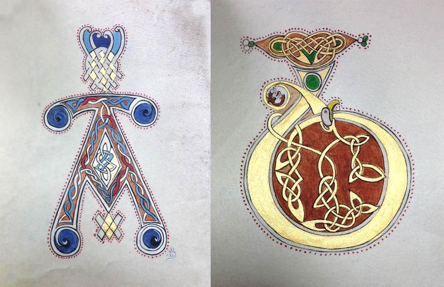 Reproduction d'initiales du livre de kells
