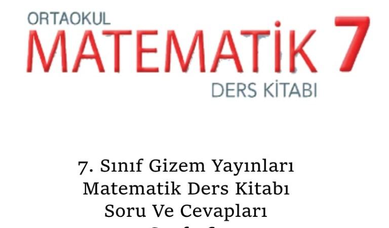 7. Sınıf Gizem Yayınları Matematik Ders Kitabı Soru Ve Cevapları Sayfa 60