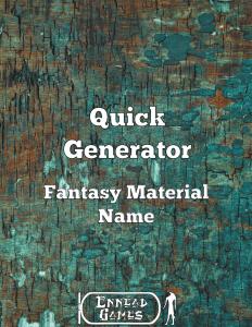 Quick Generator Fantasy Material Name