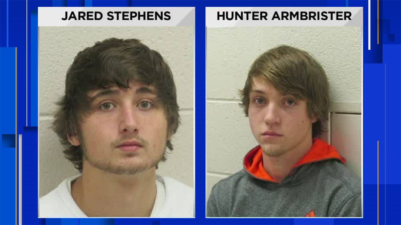 Mugshots of Jared Stephens and Hunter Armbrister from December 2017