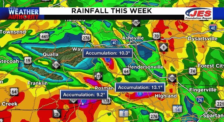 Estimated rain totals this week in western North Carolina