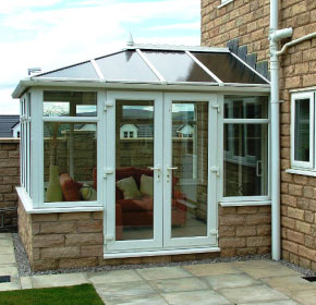 Conservatory with double door entrance